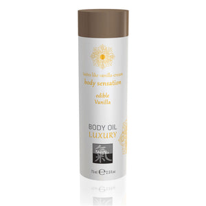 Shiatsu Luxury Body Oil Edible Vanilla 75ml > Relaxation Zone > Flavoured Lubricants and Oils 75ml, Both, Flavoured Lubricants and Oils, NEWLY-IMPORTED - So Luxe Lingerie