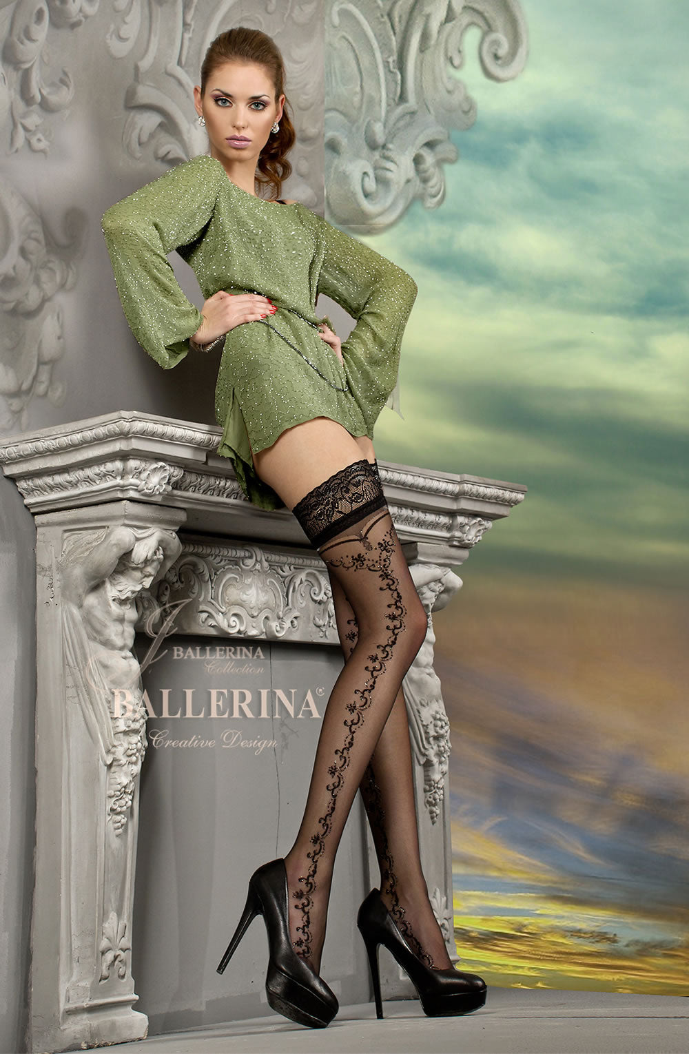 BALLERINA 216 Hold Up Nero (Black) / Lurex  Ballerina, Hold Ups, Hosiery, NEWLY-IMPORTED - So Luxe Lingerie