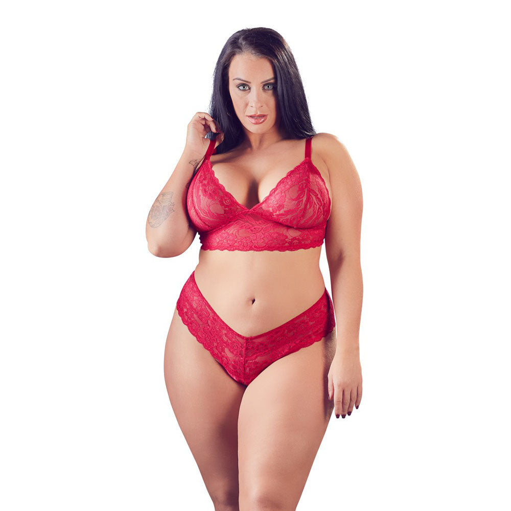 Cottelli Plus Size Red Lace Bra And Briefs > Clothes > Plus Size Lingerie Female, NEWLY-IMPORTED, Plus Size Lingerie, Polyamide - So Luxe Lingerie