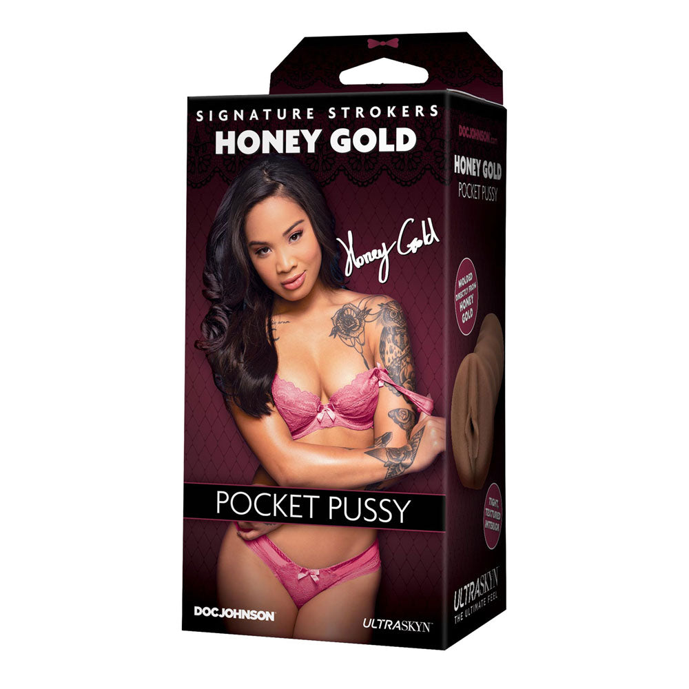 Signature Strokers Honey Gold Pocket Pussy > Sex Toys For Men > Masturbators 5.75 Inches, Male, Masturbators, NEWLY-IMPORTED, Realistic Feel - So Luxe Lingerie