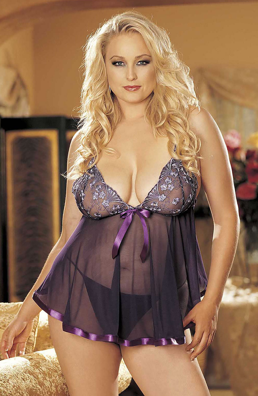 Shirley of Hollywood SoH-HL 96121Q (Plus Size) Pur  Babydolls, Chemises, Hot Lingerie Collection, Lingerie Sets, NEWLY-IMPORTED, Nightwear, Plus Sizes, Shirley of Hollywood - So Luxe Lingerie