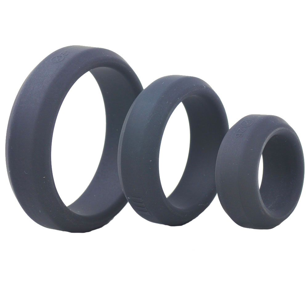 Triple Black Silicone Cock Rings > Sex Toys For Men > Love Ring Vibrators Love Ring Vibrators, Male, NEWLY-IMPORTED, Silicone - So Luxe Lingerie