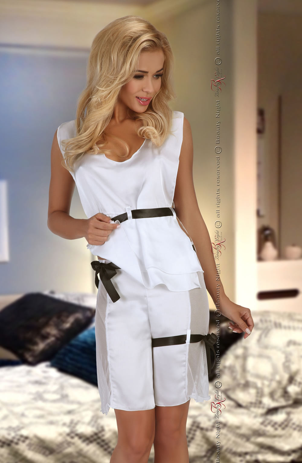 Beauty Night Beauty Night Flavia  White  All Offers, Beauty Night, NEWLY-IMPORTED, Nightwear, SALE, Short Sets, £19.99 DEALS - So Luxe Lingerie
