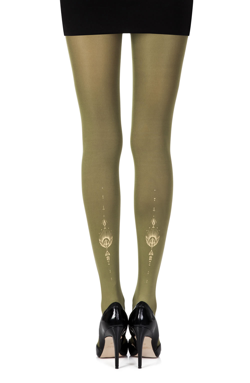 "Zohara ""Jewel In The Night"" Green Print Tights  Hosiery, NEWLY-IMPORTED, Tights, Zohara - So Luxe Lingerie"