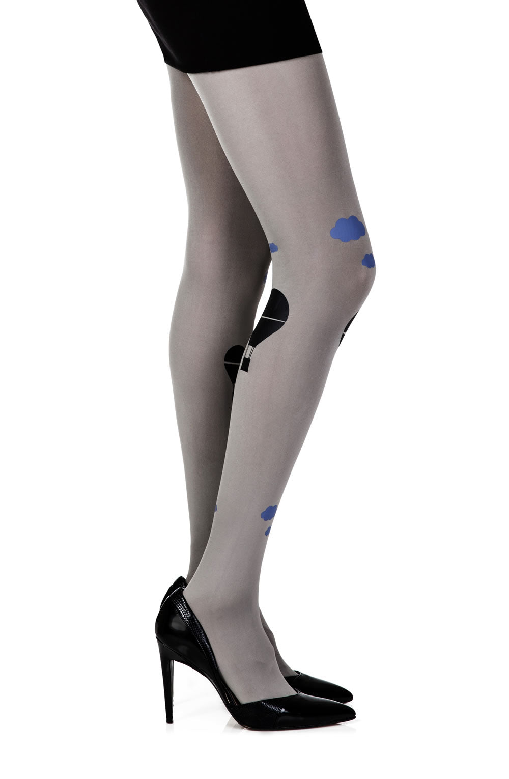"Zohara ""Hot Air Balloon"" Grey Print Tights  Hosiery, NEWLY-IMPORTED, Tights, Zohara - So Luxe Lingerie"