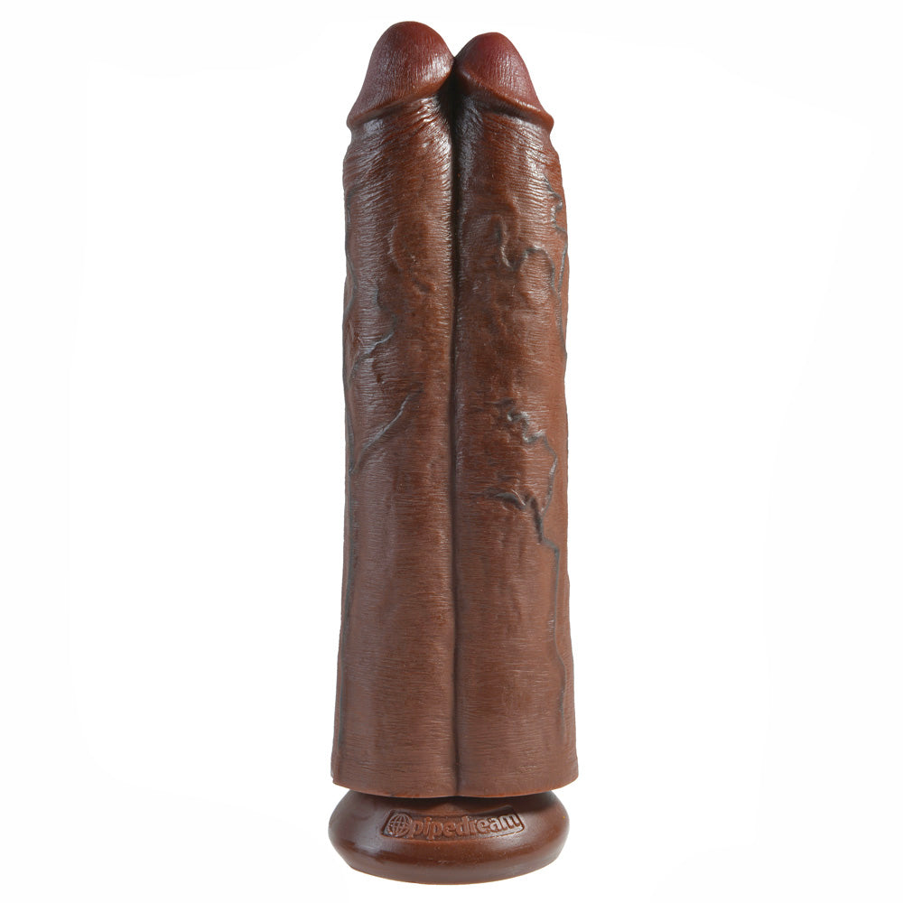 King Cock Two Cocks One Hole 11 Inch Brown Dildo Sex Toys > Realistic Dildos and Vibes > Realistic Dildos 12 Inches, Both, NEWLY-IMPORTED, PVC, Realistic Dildos - So Luxe Lingerie