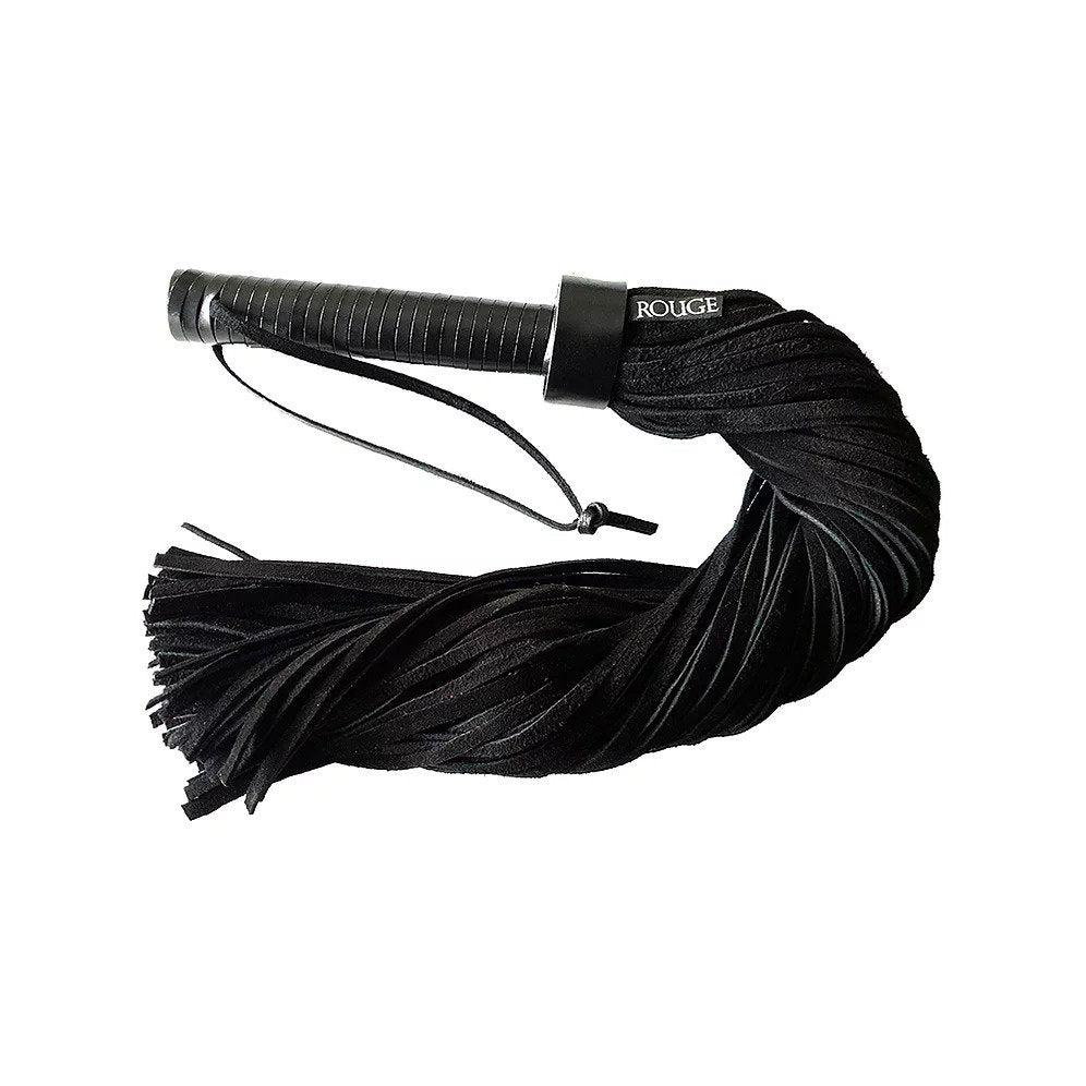 Rouge Leather Handle Suede Flogger Bondage Gear > Whips 15.5 Inches, Both, NEWLY-IMPORTED, Suede, Whips - So Luxe Lingerie