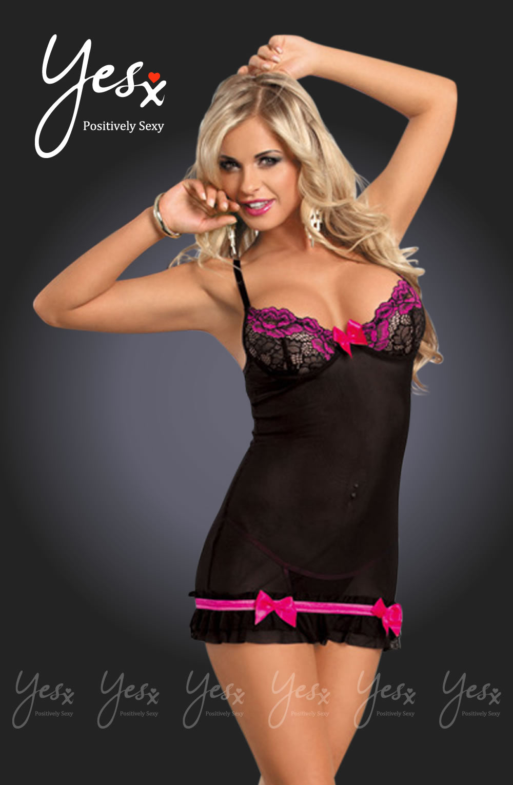 YesX Yesx YX673 Dress  Rose/Black  Chemises, Lingerie Sets, NEWLY-IMPORTED, Yesx - So Luxe Lingerie