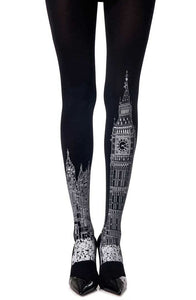 "Zohara ""London Tie"" Black Print Tights  Hosiery, NEWLY-IMPORTED, Tights, Zohara - So Luxe Lingerie"