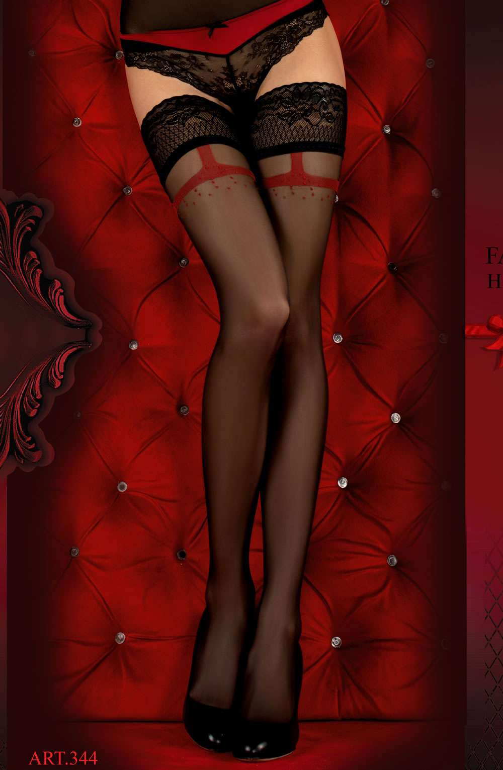 BALLERINA 3 Hold Ups NERO/RED  Ballerina, Hold Ups, Hosiery, NEWLY-IMPORTED, Our TOP Valentine's Gifts!, Valentine, Valentines - So Luxe Lingerie