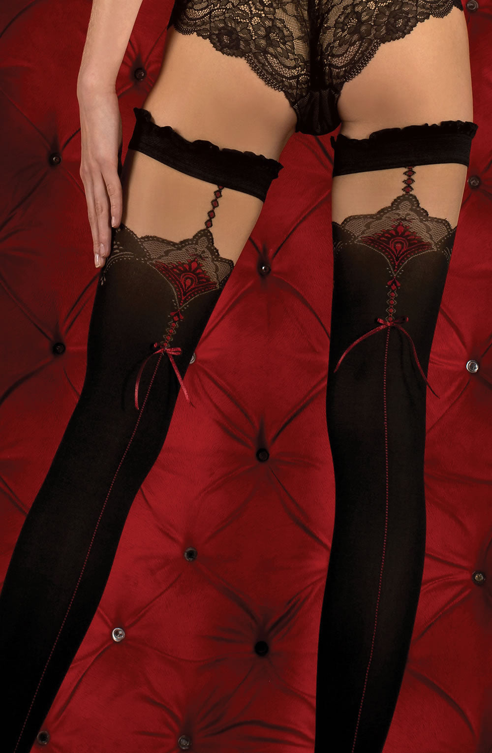 BALLERINA 346 Hold Ups Nero/Red  Ballerina, Hold Ups, Hosiery, NEWLY-IMPORTED, Our TOP Valentine's Gifts!, Valentine, Valentines - So Luxe Lingerie
