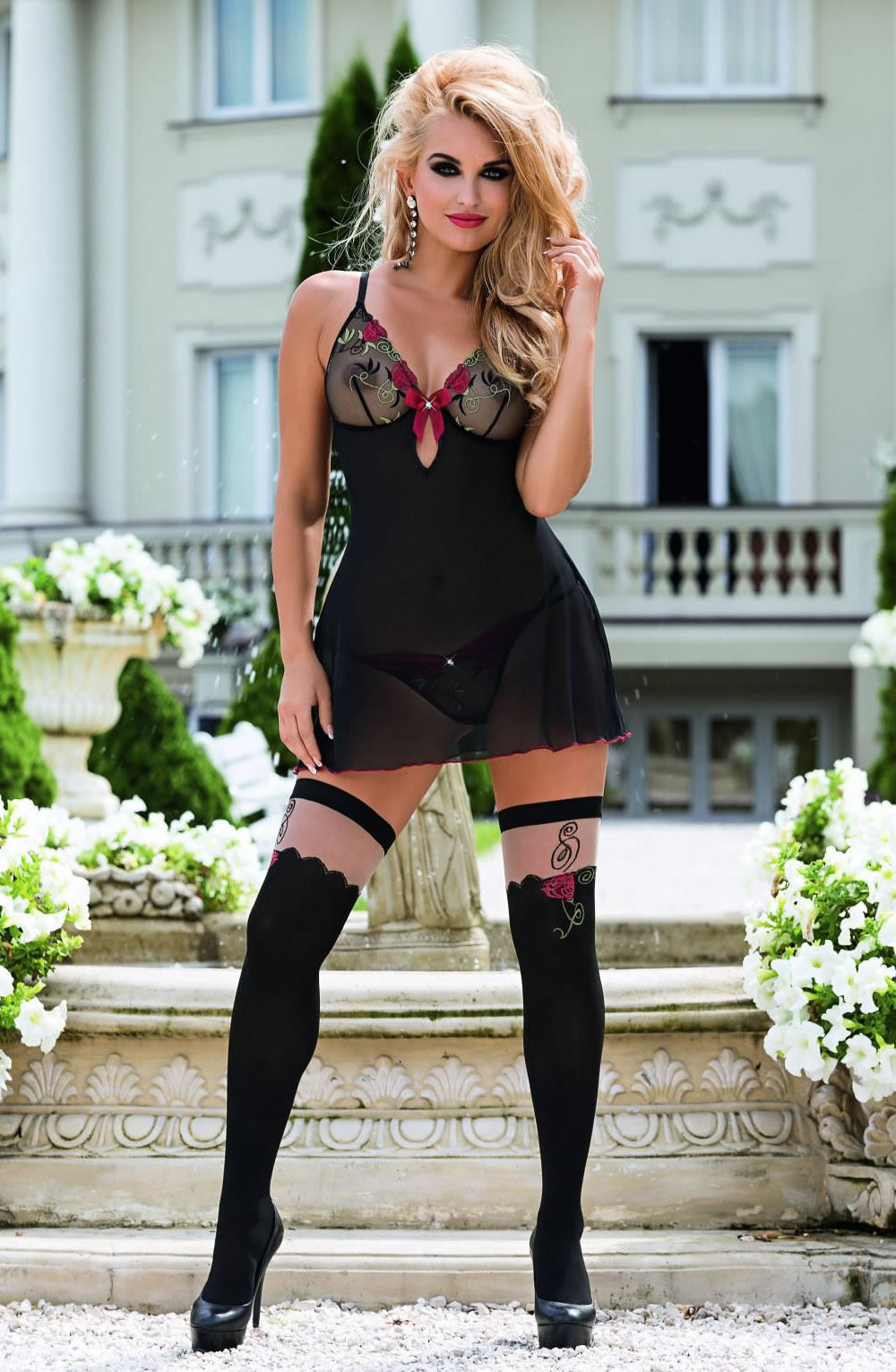 Roza Rufina Chemise Black  Bra Sets, Chemises, Honeymoon, Lingerie Sets, NEWLY-IMPORTED, Our TOP Valentine's Gifts!, Roza, Valentine, Valentines - So Luxe Lingerie