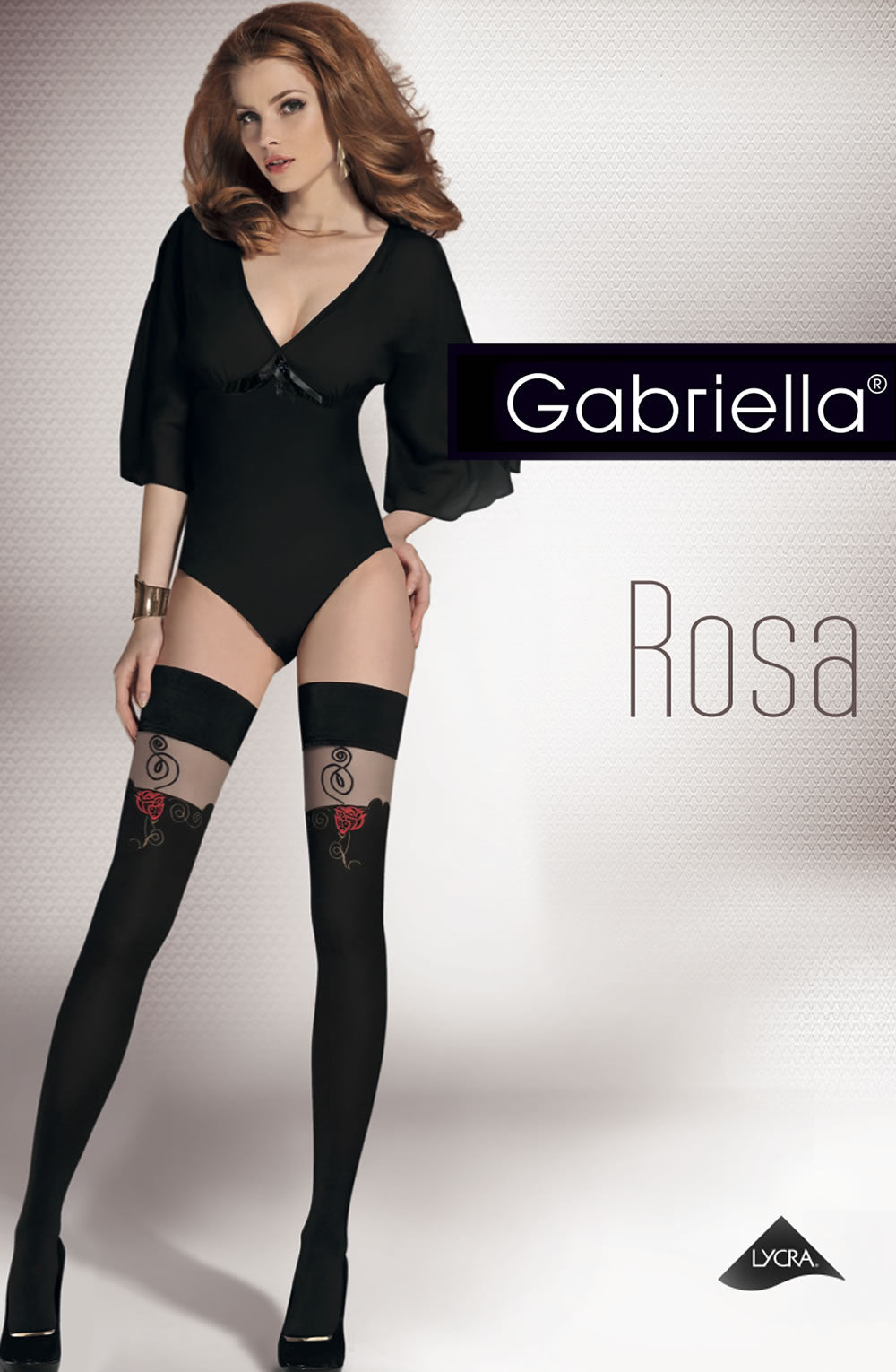Gabriella Calze Rosa 303 Nero  ()  Gabriella, Hold Ups, Hosiery, NEWLY-IMPORTED - So Luxe Lingerie
