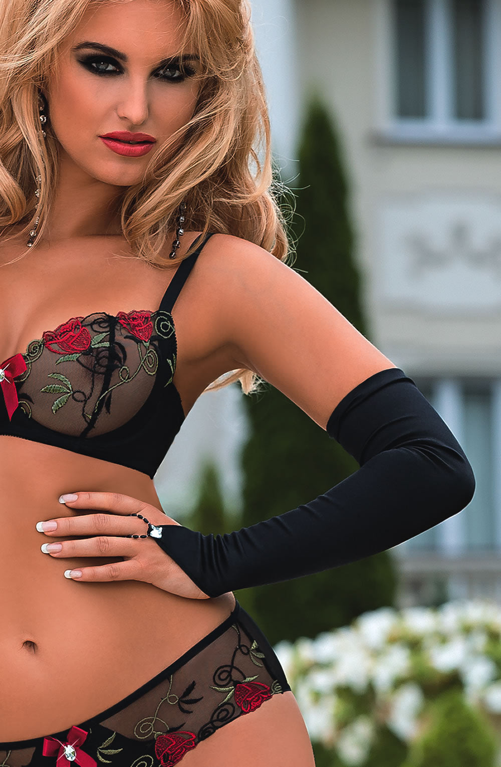 Roza Roza Rufina Gloves Black  Accessories, Bra Sets, Gloves, Honeymoon, Lingerie Sets, NEWLY-IMPORTED, Our TOP Valentine's Gifts!, Roza, Valentine, Valentines - So Luxe Lingerie