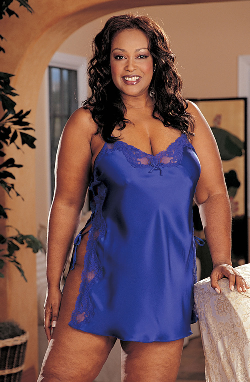 Shirley of Hollywood SoH-IA X20015 Blue Electric B  Chemises, Intimate Attitudes Collection, NEWLY-IMPORTED, Nightwear, Plus Sizes, Shirley of Hollywood - So Luxe Lingerie