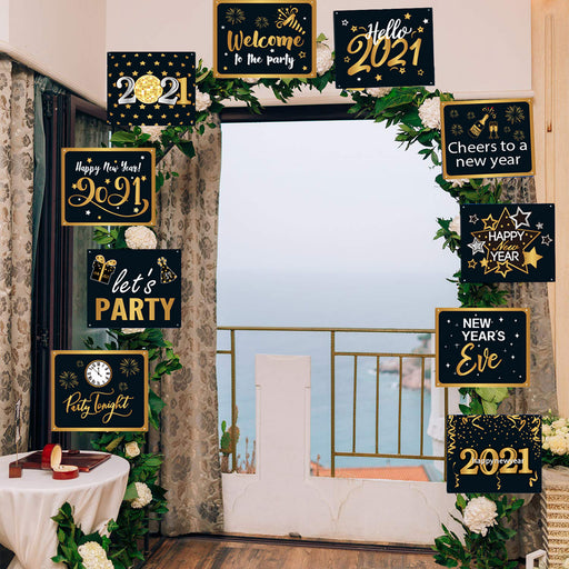 2021 Happy New Year Banner Signs Party Decoration Black Gold Photo Booth Props New Year's Eve Party Supplies Porch Signs for Front Door Yard Indoor Outdoor