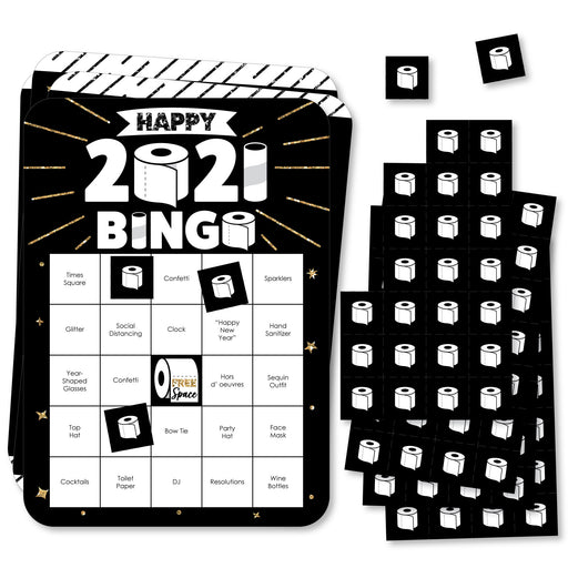 Big Dot of Happiness Rollin' in the New Year - Bar Bingo Cards and Markers - 2021 New Year's Eve Party Bingo Game - Set of 18