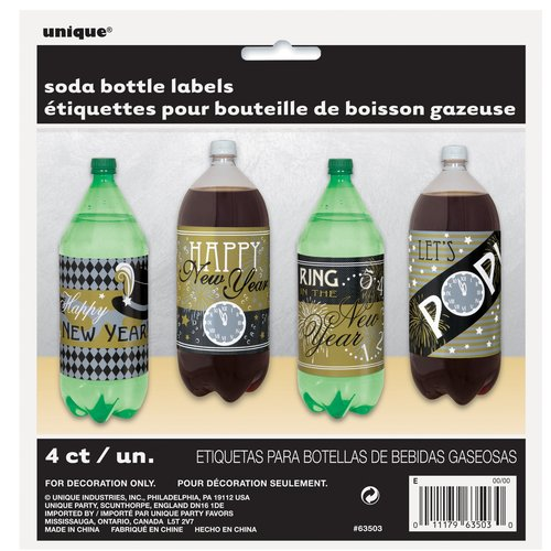 New Years Eve Soda Bottle Labels, 4-Count