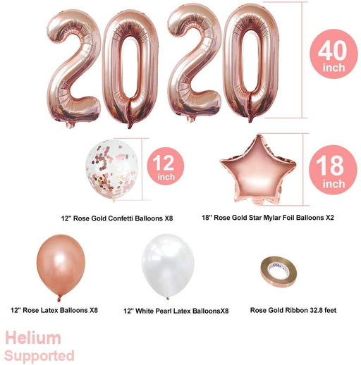 Playeasy 2020 Balloons Gold and Confetti Balloons Set - Rose Gold, Rose Gold Confetti Ballooons | New Years Eve Party Supplies 2020 | Graduation Party Supplies 2020 | NYE Decorations 2020 Graduation B