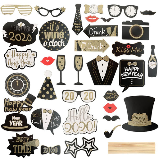 36Pcs Happy New Year'S Eve Party Supplies Masks Photo Booth Props