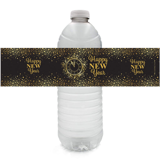Black and Gold New Year's Eve Party Water Bottle Labels - Happy New Year - 24 Count - Distinctivs
