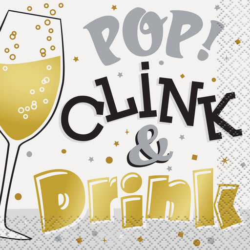 Pop, Clink, & Drink New Years Eve Paper Cocktail Napkins, 5in, 16ct