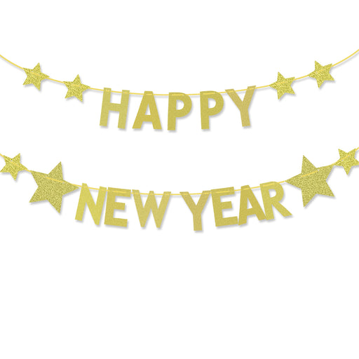 HOMEMAXS Happy New Year Bunting Banner Glitter Party Banner Garland with String Hanging New Year Eve Party Decoration Supplies