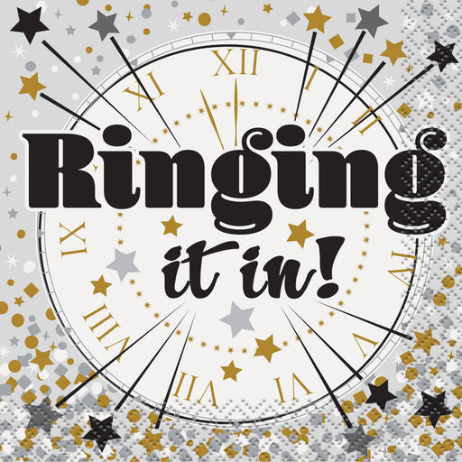 Ringing It In New Years Eve Cocktail Napkins, 5in, 16ct