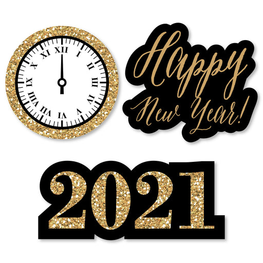 New Year's Eve - Gold - DIY Shaped 2021 New Years Eve Party Cut-Outs - 24 Count