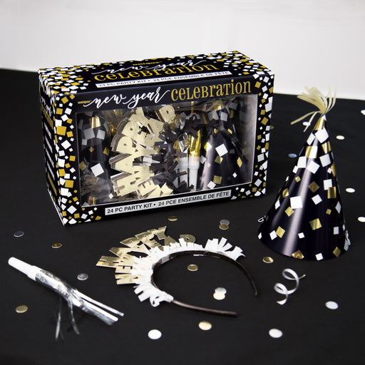 Gold and Silver New Years Eve Party Accessories Kit for 8 Guests, 24pcs