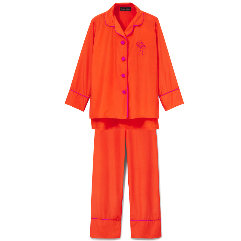 Coral Silk Trimmed Pajama Set (LIMITED EDITION COLOR)