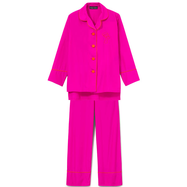 MAGENTA SILK TRIMMED PAJAMA SET (LIMITED EDITION COLOR)
