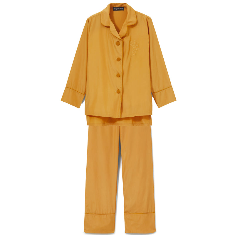 GOLD SILK TRIMMED PAJAMA SET  (LIMITED EDITION COLOR)
