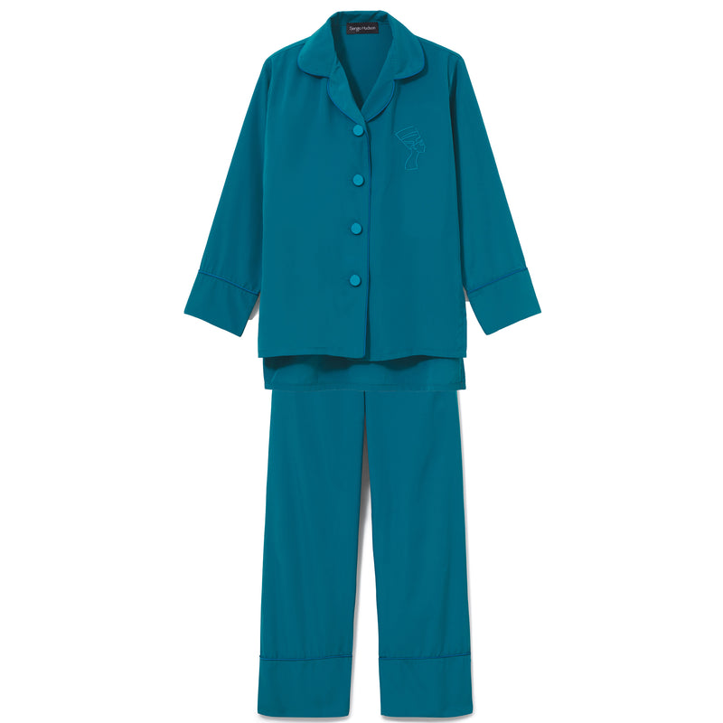 TEAL SILK TRIMMED PAJAMA SET (LIMITED EDITION COLOR)