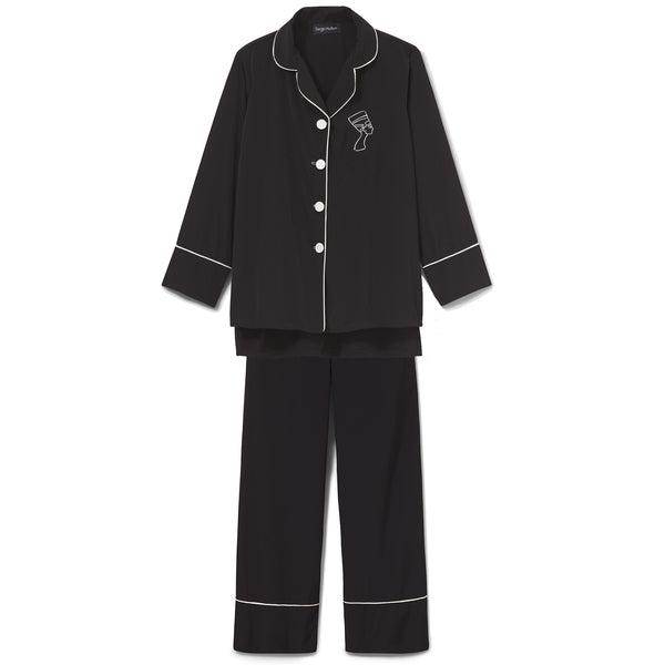 Black Silk Trimmed Pajama Set