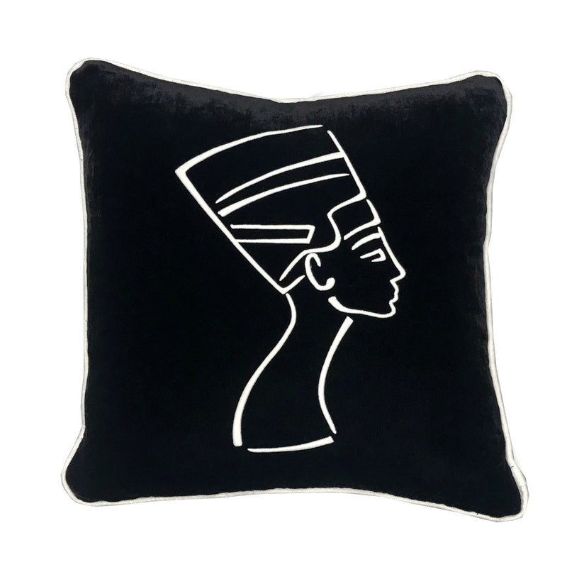 Nefertiti Embroidered Pillow 18x18