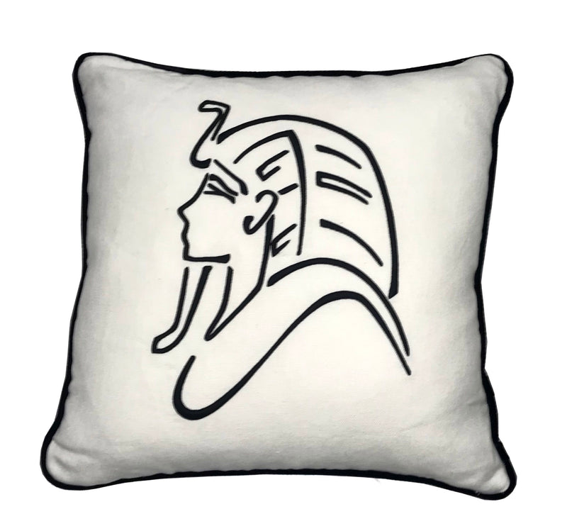 King Tut Embroidered Throw Pillow 18x18