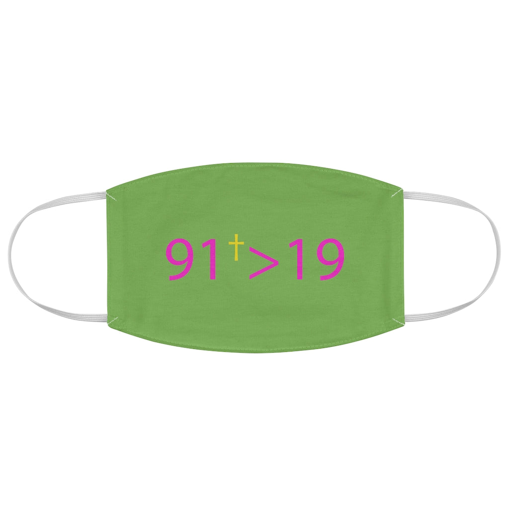 91Greater Face Mask (Green w/ Pink)
