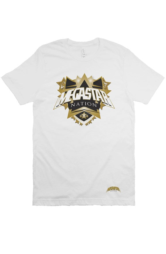 Megastar Nation Mens Classic Black and Gold Shield - White T Shirt - MegaStartNation