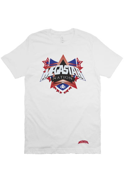 Megastar Nation Mens Classic Red and Blue Shield - White T Shirt - MegaStartNation