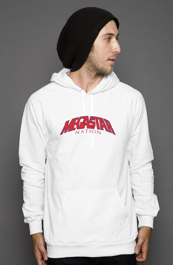 Megastar Nation Red with Blue Outline Arc  - Mens / Womens White Pullover Hoody - MegaStartNation