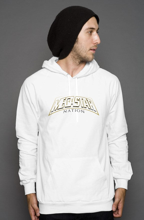 Megastar Nation White and Gold Outline Arc  - Mens / Womens White Pullover Hoody - MegaStartNation