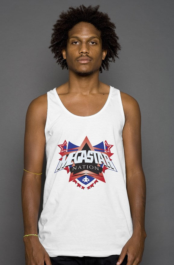 Megastar Nation Mens Red and Blue Shield - Tank Top - MegaStartNation