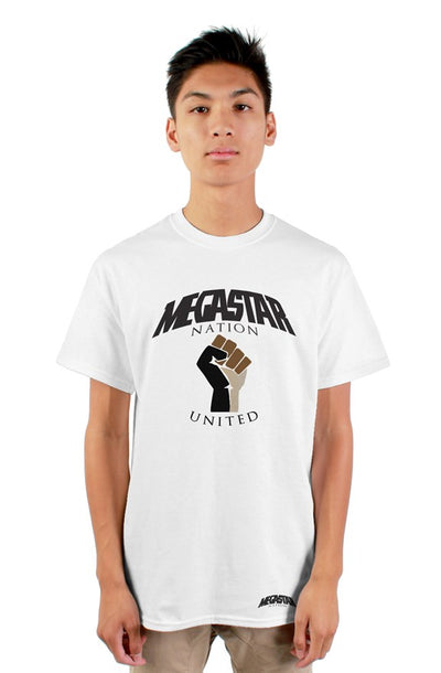 Megastar Nation United Fist  - Mens White T-Shirt - MegaStartNation