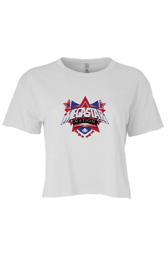 Megastar Nation RWB Shield - Womens Cali Crop T-Shirt - MegaStartNation