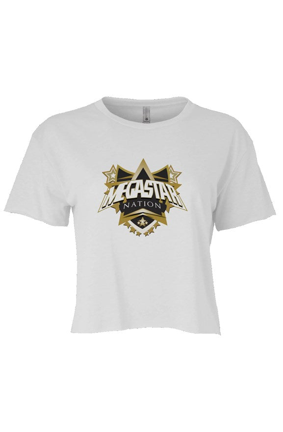 Megastar Nation Black and Gold Shield - Womens Cali Crop T-Shirt - MegaStartNation