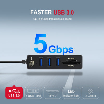 USB Hub 3.0 Multi USB 3.0 Hub USB Splitter High Speed 3 Port or 6 Port 2.0 Hab TF SD Card Reader All In One For PC Computer Accessories - MegaStartNation