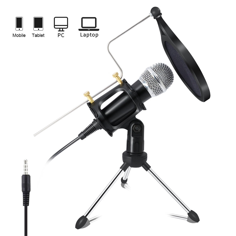 Condenser Microphone for Computer / Podcast Recording with Pop Filter 3.5mm Plug and Play Mic for Zoom / YouTube Videos and Gaming - MegaStartNation