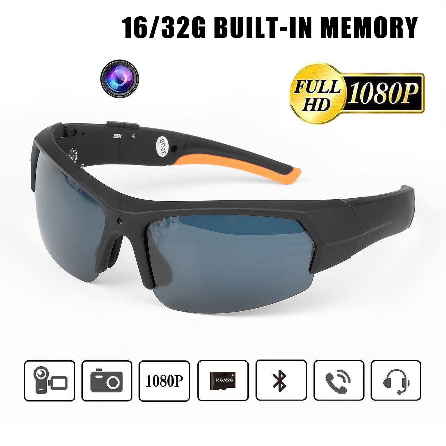 ET HD1080P Sunglasses Camera Headset Smart Mini Camera Glasses Multifunctional Bluetooth MP3 Player Sports Accessories 16/32Gb - MegaStartNation