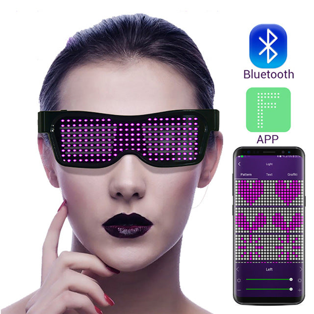 Programmable Bluetooth Flashing L.E.D. Neon Glowing Multi-Color Multi-Image Glasses - MegaStartNation
